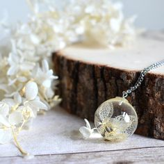 Real flower necklace white hydrangea flower resin by EightAcorns