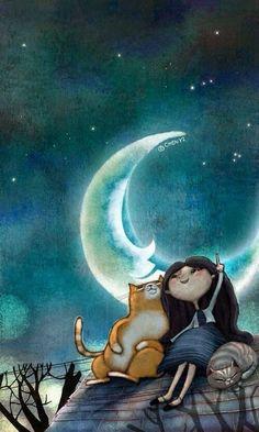 Moonlit kitties, 2019 gatos, buenas noches ve ilustraciones. Art And Illustration, Illustrations, Art Fantaisiste, Cute Good Night, Good Night Gif, Good Night Sweet Dreams, Beautiful Moon, Moon Art, Whimsical Art