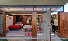 Backyard studio packs loads of amenities into 312 square feet - Curbed Backyard Studio, Backyard Sheds, Modern Backyard, French Courtyard, Temporary Architecture, Timber Panelling, Clerestory Windows, Granny Flat, Sliding Glass Door