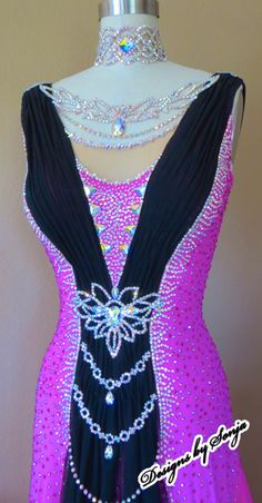 Ballroom dance costume and ballroom jewelry designed and created by Sonja Ballin. All Designs copyright ©2015, Sonja Ballin of Tampa Bay, Florida. www.sonjadesigns.com Check us out  (and like) on Facebook:  https://www.facebook.com/pages/Designs-By-Sonja/220737151285770
