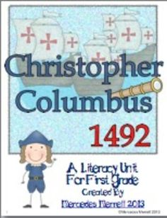 "Christopher Columbus 1492 A Literacy Unit For First Grade offers some history through an original poem/song. It includes:  *Christopher Columbus, an original song (sang to ""Yankee Doodle"") *Student Printable Book *Vocabulary Cards (2 pages) *I Spied 8 Words!"
