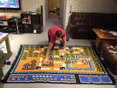 Incredible! Man Spends Six Years Crocheting One Super Mario Bros. 3 Map