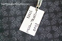 Teach INSPIRE Love Necklace by youregonnalovethis on Etsy teacher gift hand stamped jewelry