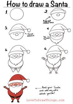 Easy Christmas Drawings, Christmas Doodles, Christmas Crafts For Kids, Xmas Crafts, Christmas Art, Christmas Projects, Cute Easy Drawings, Art Drawings For Kids, Doodle Drawings
