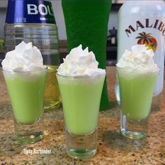 Whipped Cream PREPARATION In a shaker with ice, combine melon liqueur, coconut rum, creme de banana, and whipped cream. Liquor Drinks, Cocktail Drinks, Party Drinks, Fun Drinks, Alcoholic Drinks, Mixed Drinks, Fireball Drinks, Liquor Shots, Party Shots