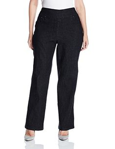 Ruby Rd. Women's Plus Size Pull-on Extra Stretch Denim Bootcut Pant, Black, 16W