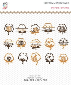 Cotton Boll Monograms DXF SVG PNG eps Summer Southern Cut File for Cricut Design, Silhouette studio, Sure A Lot, Makes the Cut by SvgCutArt on Etsy
