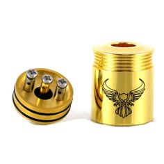 The Full 24K Gold Patriot V1.2 RDA by Innovape!  Proudly made in the USA; Zero Resistance Press Fit Terminal Posts keeps the Power Constant on every hit.  22mm diameter which is a perfect match for your mechanical mod!