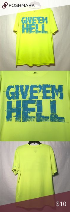 Men's Nike Dri-Fit Running Short Sleeve Give'Em Hell!  bright neon green Nike running shirt. A few small pulls but nothing major (see pictures). Nike Shirts Tees - Short Sleeve