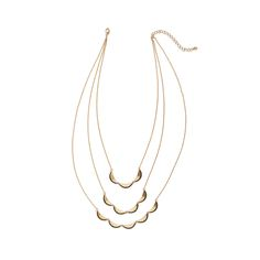 """A tiered necklace makes layering easy. The """"scallop"""" shape is classic, preppy and can be worn with your favorite boho looks as well. (Stitch Fix Rocco Crescent Tier Necklace)"""