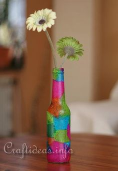 Craft Idea for Spring - Recycled Soda Bottle Vase Decorated With Tissue Paper
