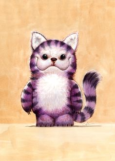BOBBY CHIU Cheshire Cat Watercolor on paper