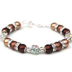 Golden Brown Pearl Rhinestone Bracelet Bridesmaid by AMIdesigns, $24.00