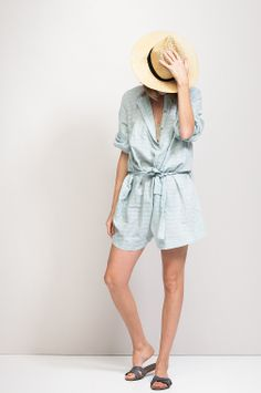 summer style / playsuit & panama hat