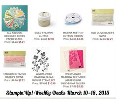 Some fun specials for your spring time paper crafting this week from Stampin' Up! www.inkandinspirations.com