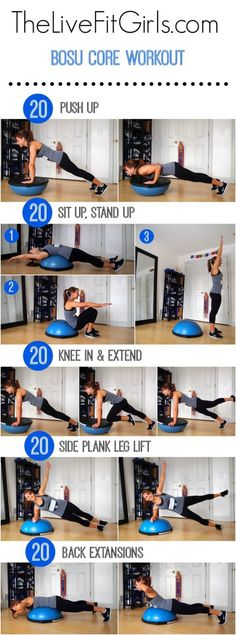 You can use this bosu ball in the gym or at home. This quick full body fitness routine will help you to get stronger with extra attention on your core muscles. Using a bosu ball is one of the best exercise in my opinion! Fitness Workouts, Bosu Workout, Fitness Motivation, Lower Ab Workouts, Workout Routines, At Home Workouts, Workout Exercises, Core Workouts, Ball Workouts