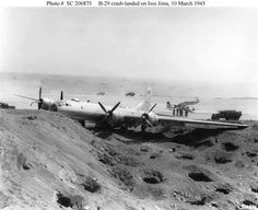 B-29 crash landed on Iwo Jima 10 March 1945