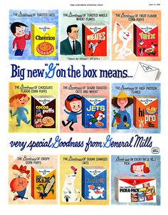 Packagin vintages de cereales General Mills.