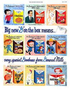 General Mills vintage cereal packaging