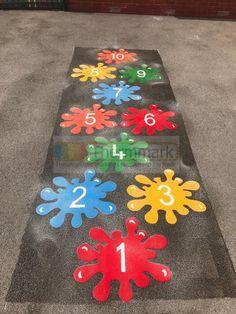 Splat Hopscotch Markings By Thermmark Kids Backyard Playground, Preschool Playground, Playground Games, Backyard Games, Preschool Crafts, Crafts For Kids, Playground Painting, Paint Games, Kids Cafe