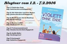 """Ab kommenden Montag mach die Blogtour """"Violett ohne Ende"""" von Judith Hüller einen Stop bei mir.  Notiert Euch schon mal die Termine und wir freuen uns auf Euren Besuch."""