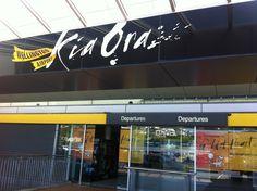 The Wellington airport. 'Kia Ora' is 'hello' in the Maori language. The Maori are the indigenous people of New Zealand.