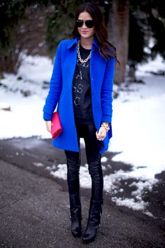 cobalt blue | bold outerwear | in love | fall fashion  | black and blue | pops of colour | style inspiration | pink peonies by rach parcell