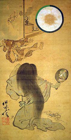 "Oiwa, the heroine of the famous ""Yotsuya Kaidan (Ghost story)"" by Kawanabe Kyosai"