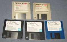 Old 3.5 inch hard floppy disk collection x5 for crafting or reuse