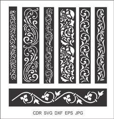 7 Border Cutting File For Laser, Cnc & Plasma Floral Wall Stencil, Decorative Elegant Border Stencils Wood Panel Walls, Panel Wall Art, Laser Cnc, Jaali Design, Cnc Cutting Design, Laser Cut Stencils, Door Gate Design, Room Screen, Cnc Plasma