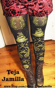 Pirate Tights Narwhals Small Medium Gold on Black Women Nautical Tattoo Sailor on Etsy, $27.00