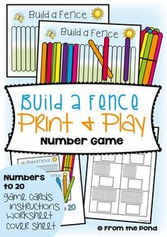Counting Math Card Game / Center - Build a Fence This is perfect for students that need practice in counting out groups of objects to model a number.  Children will love building a fence with popsicle sticks on their game mat to match a number card from 11-20.