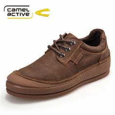 Camel Active brand men casual shoes Genuine Leather 100% handmade fashion shoes