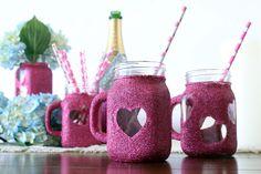 Oh...the cuteness...DIY Glitter Mason Jar Mugs   Darby Smart