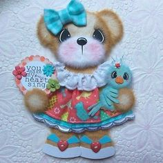 ELITE4U-Laura-Birdie-BOUTIQUE-GIRL-Tear-BEAR-Premade-Scrapbook-3paperwishes