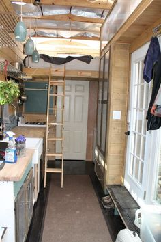 "My friend Nate originally bought a camper that he dismantled to build the tiny house on a trailer you're about to see. The trailer is 8'3″ by 24'10"" and he used 2x4s i…"