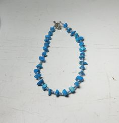 """Blue Beaded Choker Size Small or Boot Bracelet 11 Inches & 11 1/2"""" Long Chip Beads Seed Beads Handmade by LandofBridget on Etsy"""
