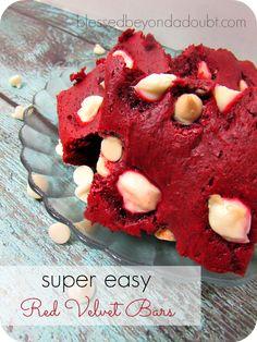 Super EASY ooey gooey red velvet bars! They are the bomb!
