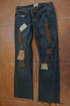 *Womens Marlow Jeans*Factory Whiskers/Fade/Patch/Stitch/Destroy*Hippie*Size 30* #Marlow #StraightLeg