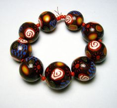 Handmade Beads Polymer Clay Set of 9 by SweetchildJewelry on Etsy, $11.25