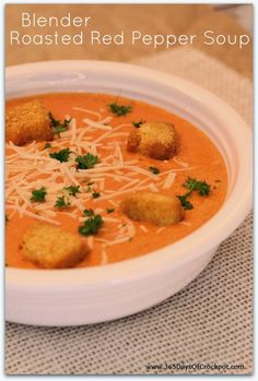 Blender Roasted Red Pepper Soup Recipe.  I cannot get enough of this soup!  It's simple and so delicious.  Only 122 calories per serving too!