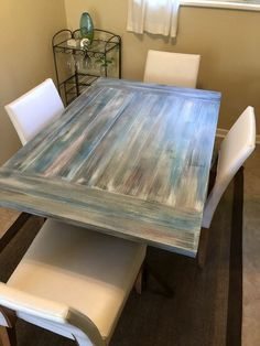 I was able to make a trip down to our vacation rental and most of time iI am making repairs and touching up paint and such. One of the projects was to address t… Dining Table Makeover, Dining Table Design, Wooden Dining Tables, Wood Table, Dining Room Table, Dining Chairs, Dining Area, Easy A, Build A Farmhouse Table