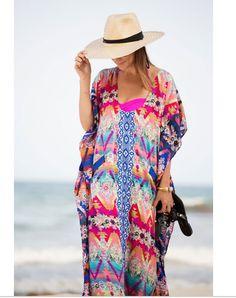 Simenual Vintage chiffon beach dress long robe gown swimwear oversize ethnic  #Simenual #BeachDress