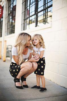 Black and Gold Glitter Polka Dot Pencil Skirt
