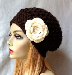 Crochet Slouchy Beret Womens Hat Chocolate by JadeExpressions