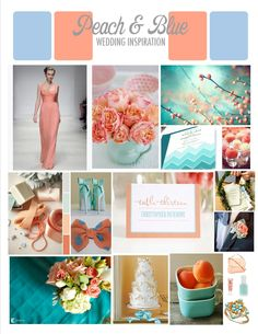 Peach and Blue Wedding color palette inspiration
