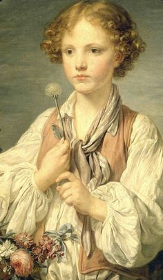 Jean-Baptiste Greuze, (1725–1805) Young Shepherd Holding a Flower (a boy holding a dandelion and pensively making a wish for his love to be reciprocated) Petit Palais, Paris, 1761.
