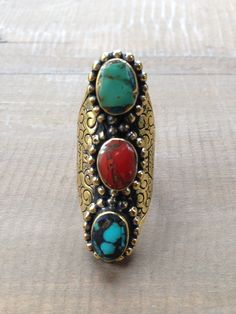 Threestone Antique Brass Tibetan Ring #threestone #ring #accessories #antique