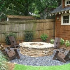 firepit...I like that they used gravel around it - seems mor e cost effective than patio stones