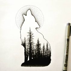 Print Howl at the Moon Howl at the Moon wolf paw print with howling wolf inside and Mt Eva mountain range Original Medium Digital Drawing using Adobe Sketch Artist Cherie. Wolf Silhouette, Silhouette Tattoos, Silhouette Design, Pencil Art Drawings, Art Drawings Sketches, Animal Drawings, Wolf Tattoo Design, Wolf Tattoos, Wolf And Moon Tattoo